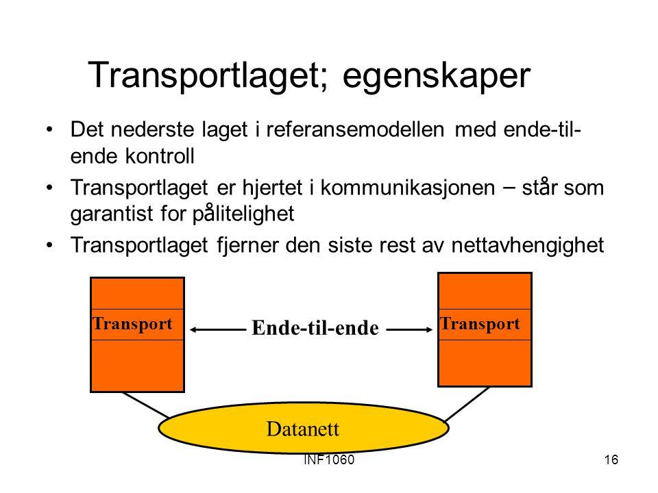 INF106016 Transportlaget; egenskaper Det nederste laget i referansemodellen med ende-til- ende kontroll Transportlaget er hjertet i kommunikasjonen – st å r som garantist for p å litelighet Transportlaget fjerner den siste rest av nettavhengighet Transport Ende-til-ende Datanett