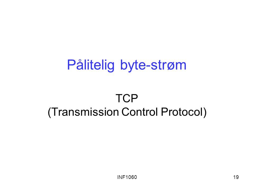 INF106019 Pålitelig byte-strøm TCP (Transmission Control Protocol)