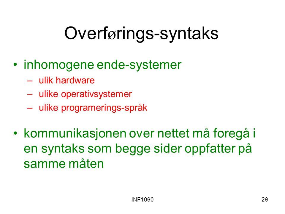 INF106029 Overf ø rings-syntaks inhomogene ende-systemer – ulik hardware – ulike operativsystemer – ulike programerings-språk kommunikasjonen over nettet må foregå i en syntaks som begge sider oppfatter på samme måten