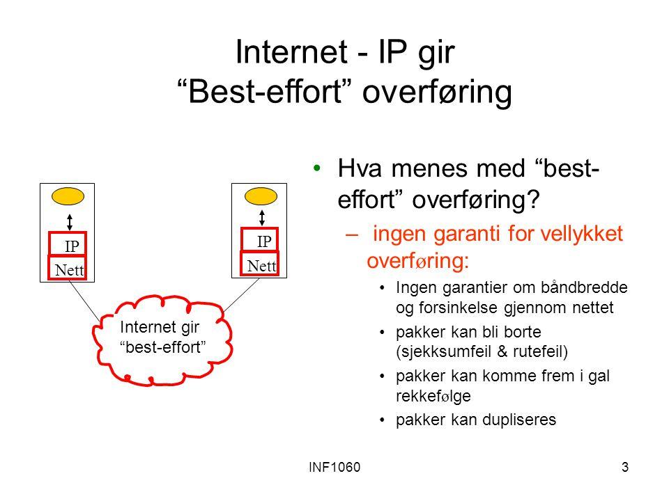 INF106034 Web-en: http protokollen http: hypertext transfer protocol Web er en applikasjonslags- protokoll klient/tjener modell –klient: navigator som ber om, mottar og viser Web objekter –tjener: Web tjener sender objekter som svar på forespørseler http1.0: RFC 1945 http1.1: RFC 2616 PC som kjører Explorer Tjenermaskin Som kjører NCSA Web tjener Mac som kjører Navigator http forespørsel http respons Port 80 er default for http tjener.