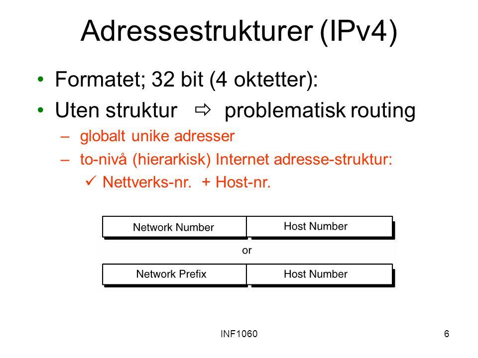 INF10607 Klasseoppdeling av IPv4 adresser IP adresserommet er delt opp i tre klasser for å kunne støtte nettverk av forskjellige størrelser (kjent som classful addressing ) Hver klasse setter en grense mellom nettverk prefiks og host nummer på ulike steder i 32-bits addressen Klasse A kan definere 126 (2 7 -2) ulike nettverk, hvor hver av dem kan støttte 16777214 (2 24 -2) hosts Klasse A legger beslag på 50% av det totale IPv4 unicast adresse-rommet Klasse B kan definere16384 (2 14 ) ulike nettverk, hvor hver av dem kan støttte 65534 (2 16 -2) hosts Klasse B konsumerer 25% av adressene Klasse C kan definere 2097152 (2 21 ) ulike nettverk, hvor hver av dem kan støttte 254 (2 8 -2) hosts Klassse C konsumerer 12,5% av adressene