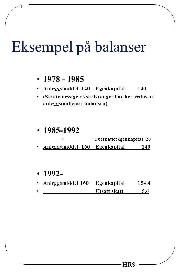 4 HRS Eksempel på balanser 1978 - 1985 Anleggsmiddel 140Egenkapital140 (Skattemessige avskrivninger har her redusert anleggsmidlene i balansen) 1985-1