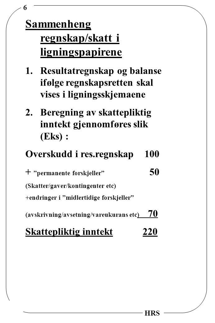 17 HRS OPPFØRING AV SKATTEFORDEL POSITIVE INDIKATORER 1.