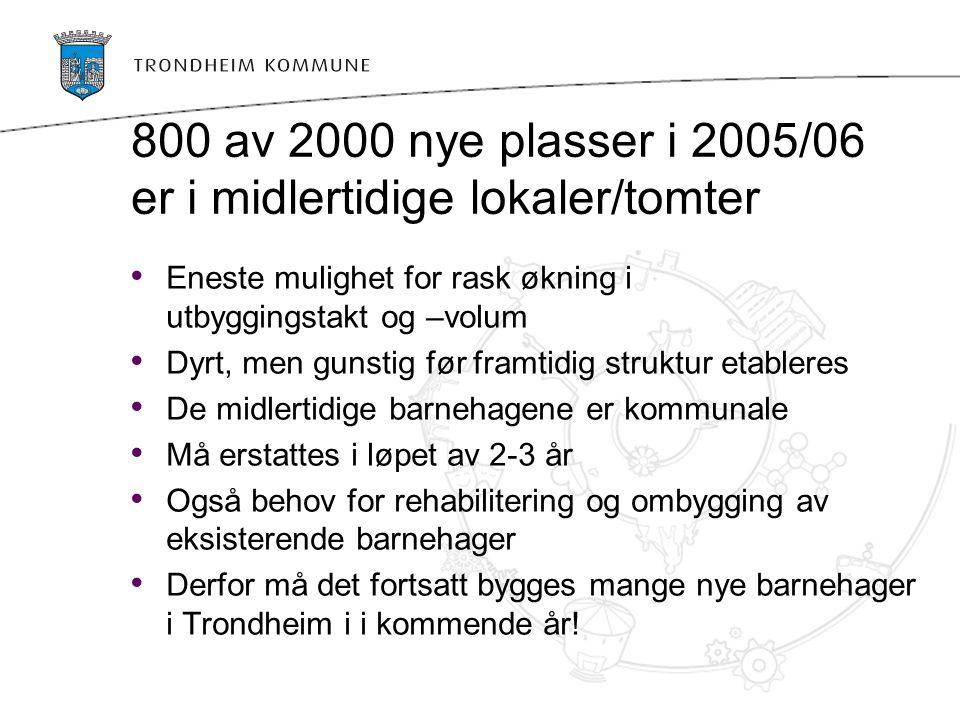 800 av 2000 nye plasser i 2005/06 er i midlertidige lokaler/tomter Eneste mulighet for rask økning i utbyggingstakt og –volum Dyrt, men gunstig før framtidig struktur etableres De midlertidige barnehagene er kommunale Må erstattes i løpet av 2-3 år Også behov for rehabilitering og ombygging av eksisterende barnehager Derfor må det fortsatt bygges mange nye barnehager i Trondheim i i kommende år!