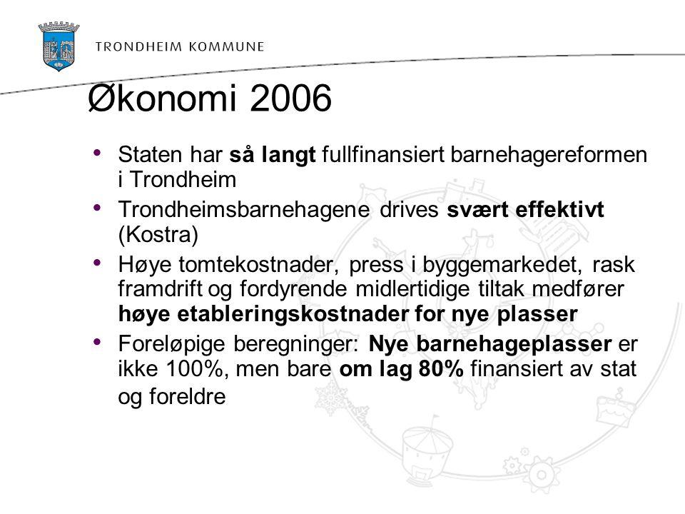 Økonomi 2006 Staten har så langt fullfinansiert barnehagereformen i Trondheim Trondheimsbarnehagene drives svært effektivt (Kostra) Høye tomtekostnader, press i byggemarkedet, rask framdrift og fordyrende midlertidige tiltak medfører høye etableringskostnader for nye plasser Foreløpige beregninger: Nye barnehageplasser er ikke 100%, men bare om lag 80% finansiert av stat og foreldre