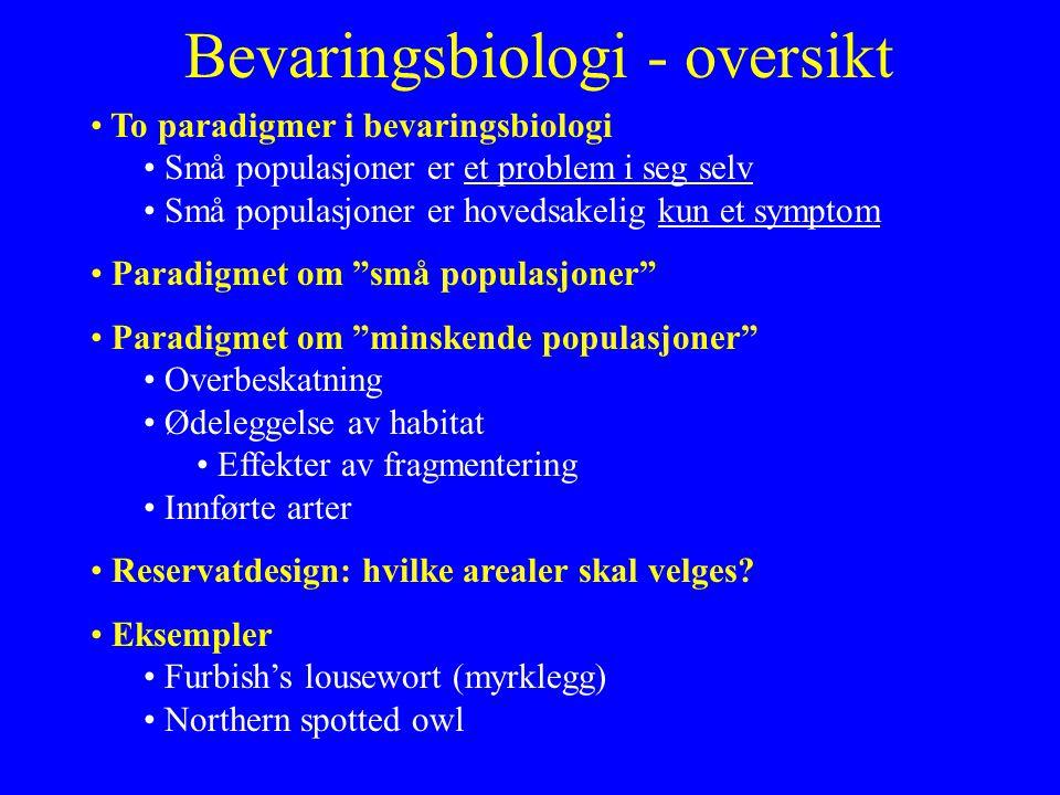 Bevaringsbiologi - oversikt To paradigmer i bevaringsbiologi Små populasjoner er et problem i seg selv Små populasjoner er hovedsakelig kun et symptom