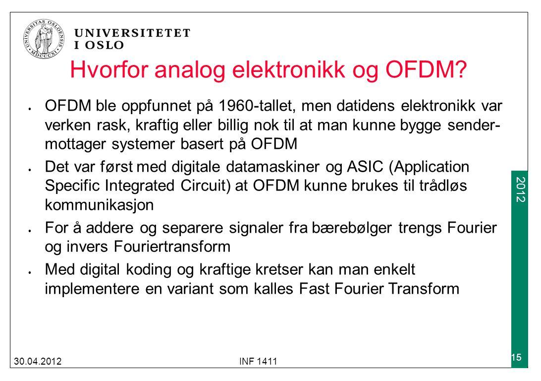 2009 2012 30.04.2012INF 1411 15 Hvorfor analog elektronikk og OFDM.