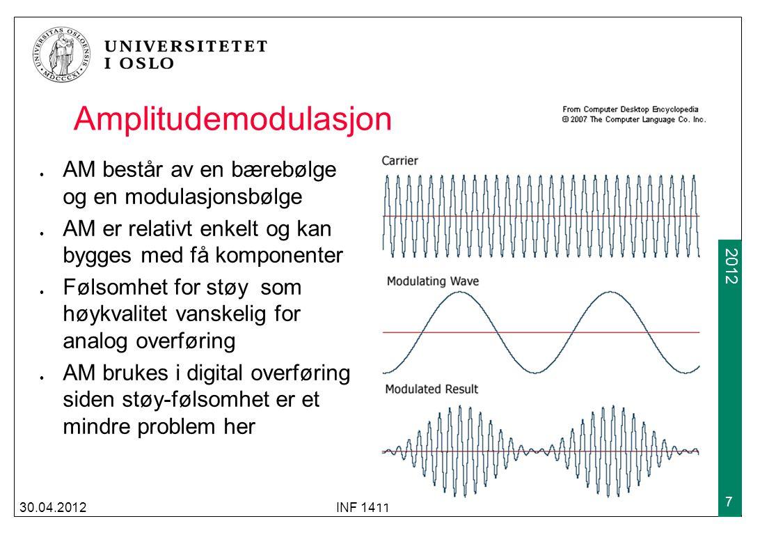 2009 2012 30.04.2012INF 1411 8 Frekvensmodulasjon FM består også av en bære- bølge og en modulasjons- bølge Det modulerte resultatet er et signal med varierende frekvens avhengig av amplituden på modulasjons- signalet FM gir bedre kvalitet på analoge overføringer men har mindre rekkevidde enn AM FM brukes også i digital kommunikasjon