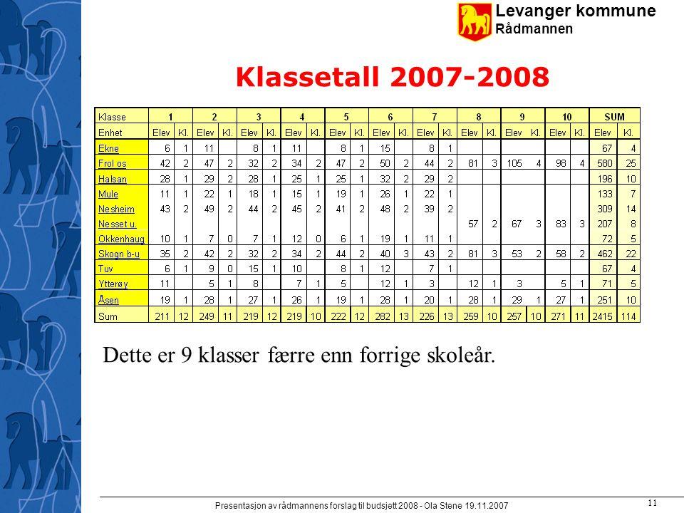 Levanger kommune Rådmannen Presentasjon av rådmannens forslag til budsjett 2008 - Ola Stene 19.11.2007 10 Demografi