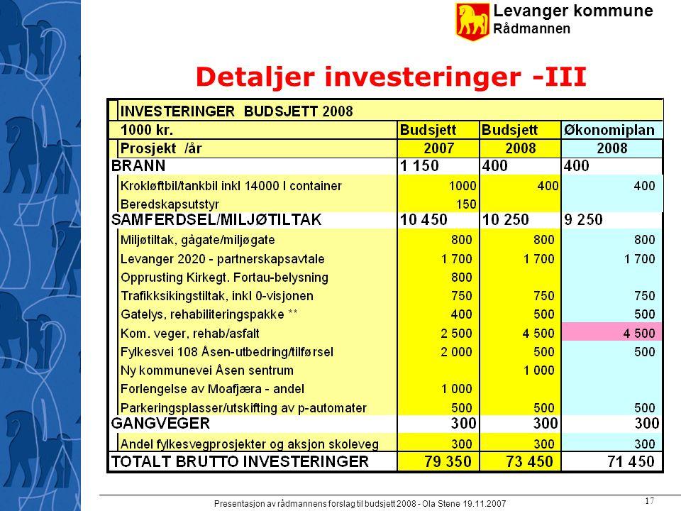 Levanger kommune Rådmannen Presentasjon av rådmannens forslag til budsjett 2008 - Ola Stene 19.11.2007 16 Detaljer investeringer -II