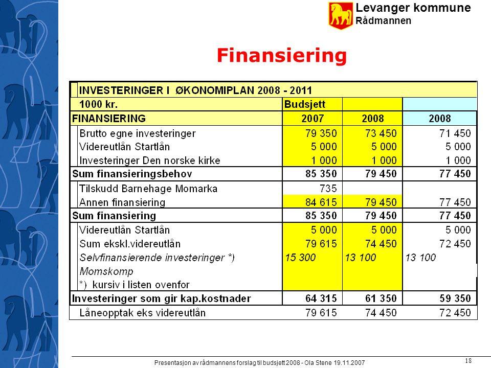 Levanger kommune Rådmannen Presentasjon av rådmannens forslag til budsjett 2008 - Ola Stene 19.11.2007 17 Detaljer investeringer -III