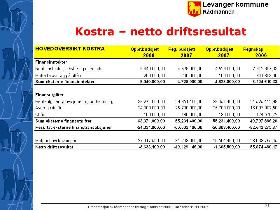Levanger kommune Rådmannen Presentasjon av rådmannens forslag til budsjett 2008 - Ola Stene 19.11.2007 24 Kostra - driftskostnader