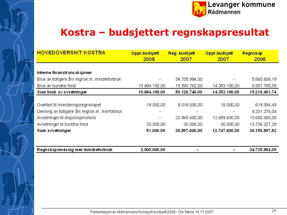 Levanger kommune Rådmannen Presentasjon av rådmannens forslag til budsjett 2008 - Ola Stene 19.11.2007 25 Kostra – netto driftsresultat