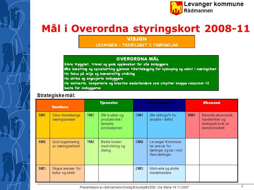 Levanger kommune Rådmannen Presentasjon av rådmannens forslag til budsjett 2008 - Ola Stene 19.11.2007 2 Forslaget bygger på
