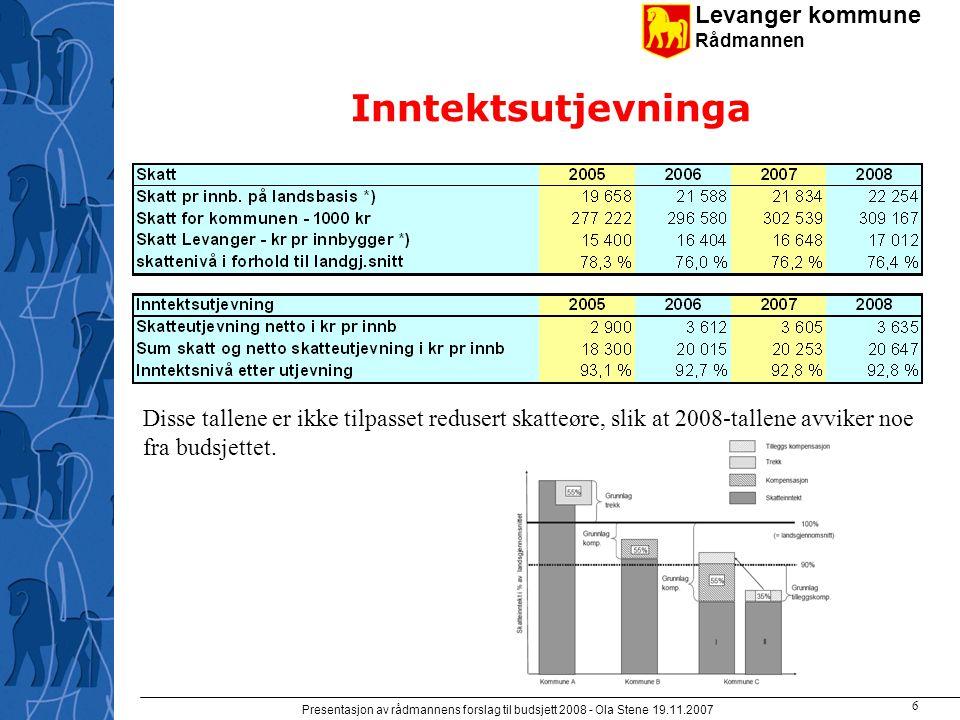 Levanger kommune Rådmannen Presentasjon av rådmannens forslag til budsjett 2008 - Ola Stene 19.11.2007 5 Rammetilskuddet –Utgiftsutjevninga 2008