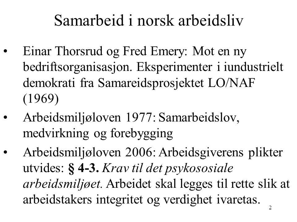 2 Samarbeid i norsk arbeidsliv Einar Thorsrud og Fred Emery: Mot en ny bedriftsorganisasjon. Eksperimenter i iundustrielt demokrati fra Samareidsprosj