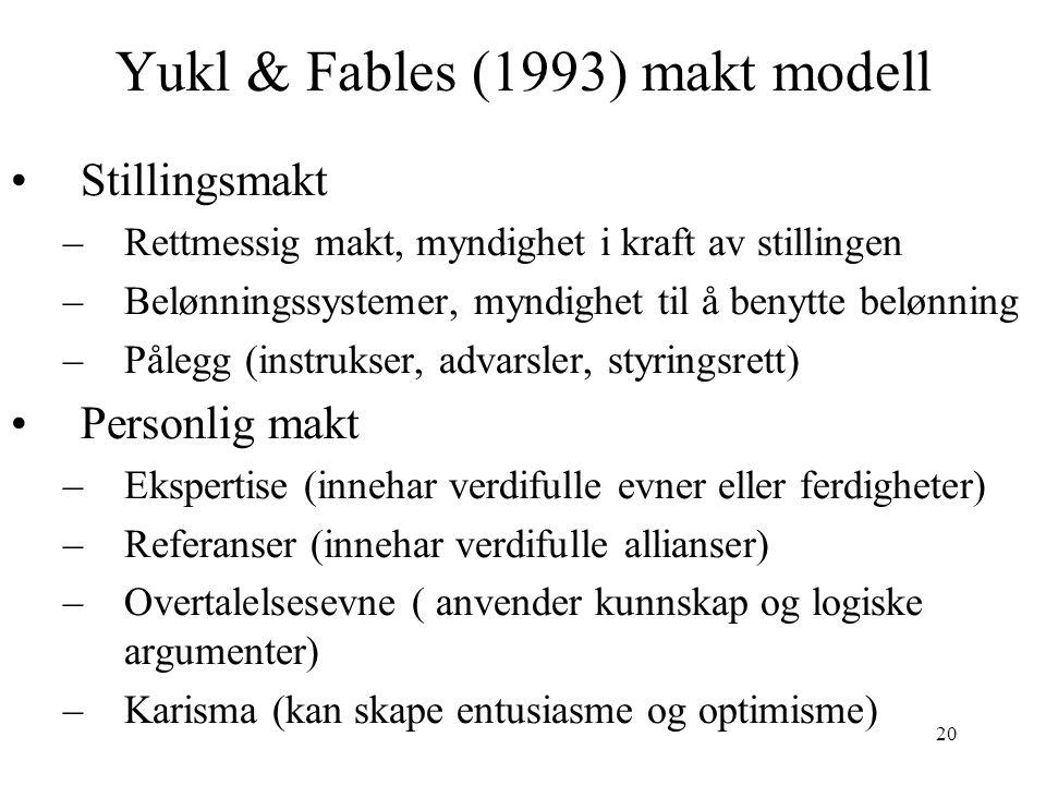 20 Yukl & Fables (1993) makt modell Stillingsmakt –Rettmessig makt, myndighet i kraft av stillingen –Belønningssystemer, myndighet til å benytte beløn