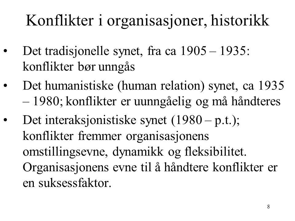 8 Konflikter i organisasjoner, historikk Det tradisjonelle synet, fra ca 1905 – 1935: konflikter bør unngås Det humanistiske (human relation) synet, c
