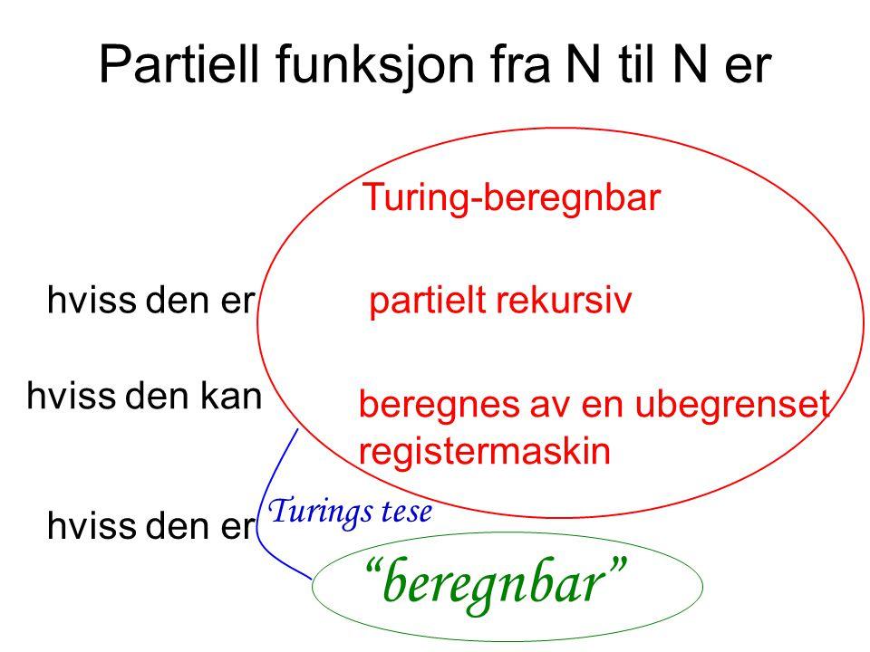 Partiell funksjon fra N til N er Turing-beregnbar hviss den erpartielt rekursiv hviss den kan beregnes av en ubegrenset registermaskin hviss den er beregnbar Turings tese