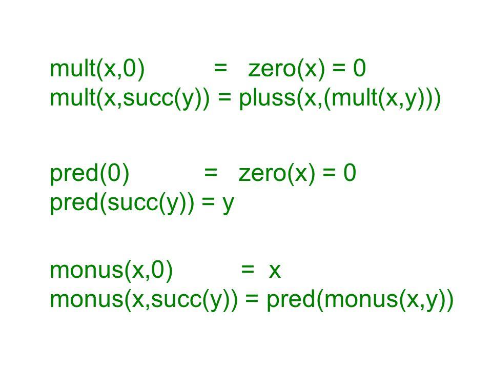 pred(0) = zero(x) = 0 pred(succ(y)) = y monus(x,0) = x monus(x,succ(y)) = pred(monus(x,y)) mult(x,0) = zero(x) = 0 mult(x,succ(y)) = pluss(x,(mult(x,y