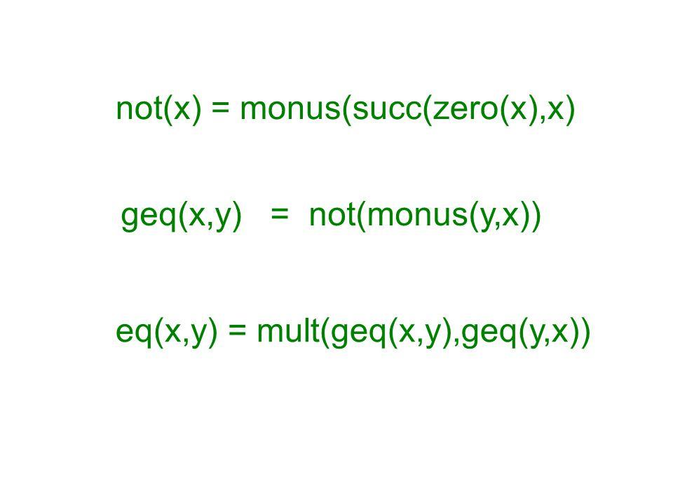 eq(x,y) = mult(geq(x,y),geq(y,x)) geq(x,y) = not(monus(y,x)) not(x) = monus(succ(zero(x),x)