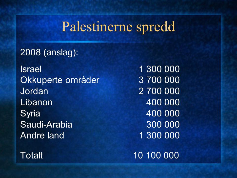 Palestinerne spredd 2008 (anslag): Israel1 300 000 Okkuperte områder3 700 000 Jordan2 700 000 Libanon 400 000 Syria 400 000 Saudi-Arabia 300 000 Andre