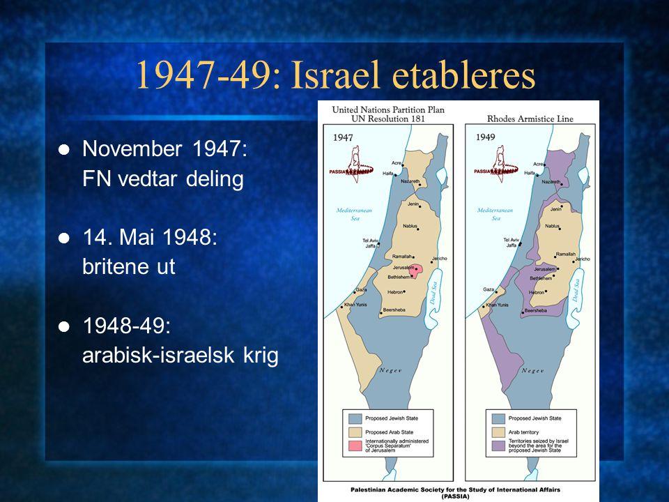 Intifadaen: fra retur til to-statsløsning Opprøret satte fokus på okkuperte områder PLO: fra marginalisert til anerkjennelse Endring PLO-charter i Algerie 1988: to-statsløsning Gjensidig anerkjennelse Israel – PLO Prinsipp-erklæring Oslo 1993: begrenset selvstyre og forhandlinger om endelig løsning