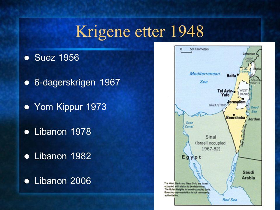Krigene etter 1948 Suez 1956 6-dagerskrigen 1967 Yom Kippur 1973 Libanon 1978 Libanon 1982 Libanon 2006