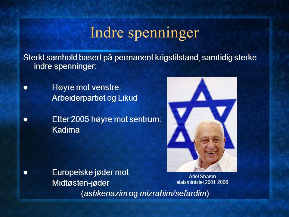 Indre spenninger Religiøse mot sekulære: religiøse sionister, ultraortodokse og sekularister Sionister mot palestinere: en stat for alle, to stater, eller anneksjon og fordrivelse?