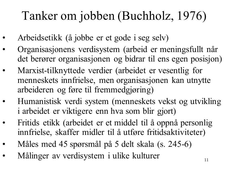 11 Tanker om jobben (Buchholz, 1976) Arbeidsetikk (å jobbe er et gode i seg selv) Organisasjonens verdisystem (arbeid er meningsfullt når det berører