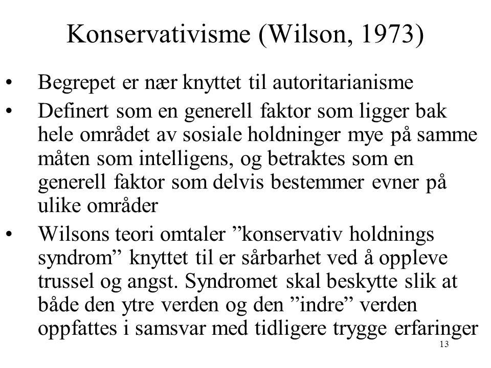 13 Konservativisme (Wilson, 1973) Begrepet er nær knyttet til autoritarianisme Definert som en generell faktor som ligger bak hele området av sosiale