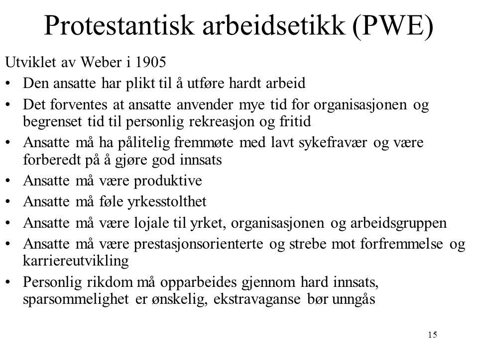 15 Protestantisk arbeidsetikk (PWE) Utviklet av Weber i 1905 Den ansatte har plikt til å utføre hardt arbeid Det forventes at ansatte anvender mye tid