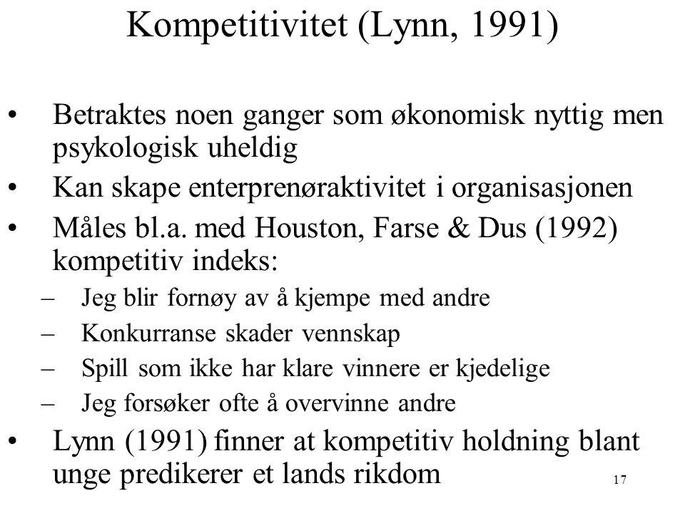 17 Kompetitivitet (Lynn, 1991) Betraktes noen ganger som økonomisk nyttig men psykologisk uheldig Kan skape enterprenøraktivitet i organisasjonen Måle