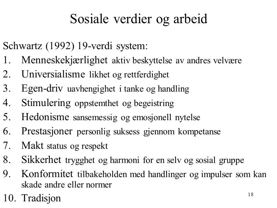 18 Sosiale verdier og arbeid Schwartz (1992) 19-verdi system: 1.Menneskekjærlighet aktiv beskyttelse av andres velvære 2.Universialisme likhet og rett