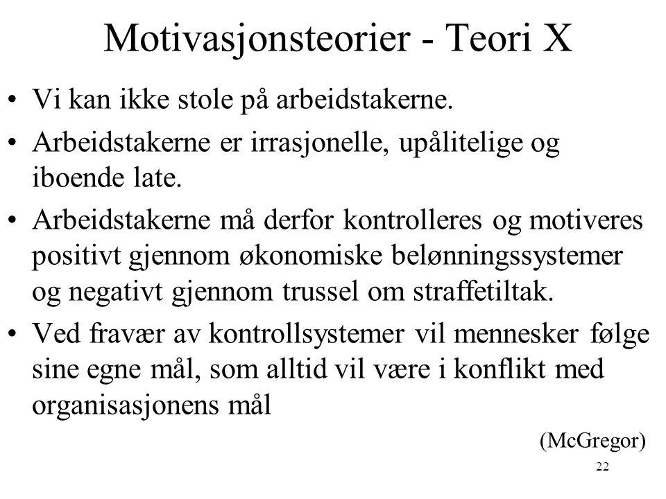 22 Motivasjonsteorier - Teori X Vi kan ikke stole på arbeidstakerne. Arbeidstakerne er irrasjonelle, upålitelige og iboende late. Arbeidstakerne må de