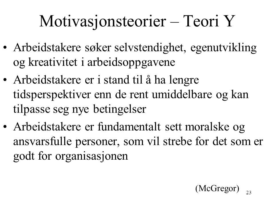 23 Motivasjonsteorier – Teori Y Arbeidstakere søker selvstendighet, egenutvikling og kreativitet i arbeidsoppgavene Arbeidstakere er i stand til å ha
