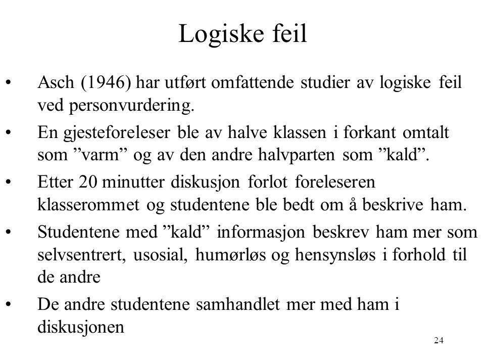 24 Logiske feil Asch (1946) har utført omfattende studier av logiske feil ved personvurdering. En gjesteforeleser ble av halve klassen i forkant omtal