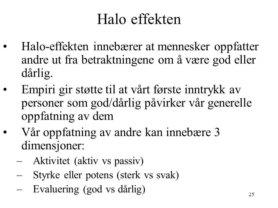 25 Halo effekten Halo-effekten innebærer at mennesker oppfatter andre ut fra betraktningene om å være god eller dårlig. Empiri gir støtte til at vårt