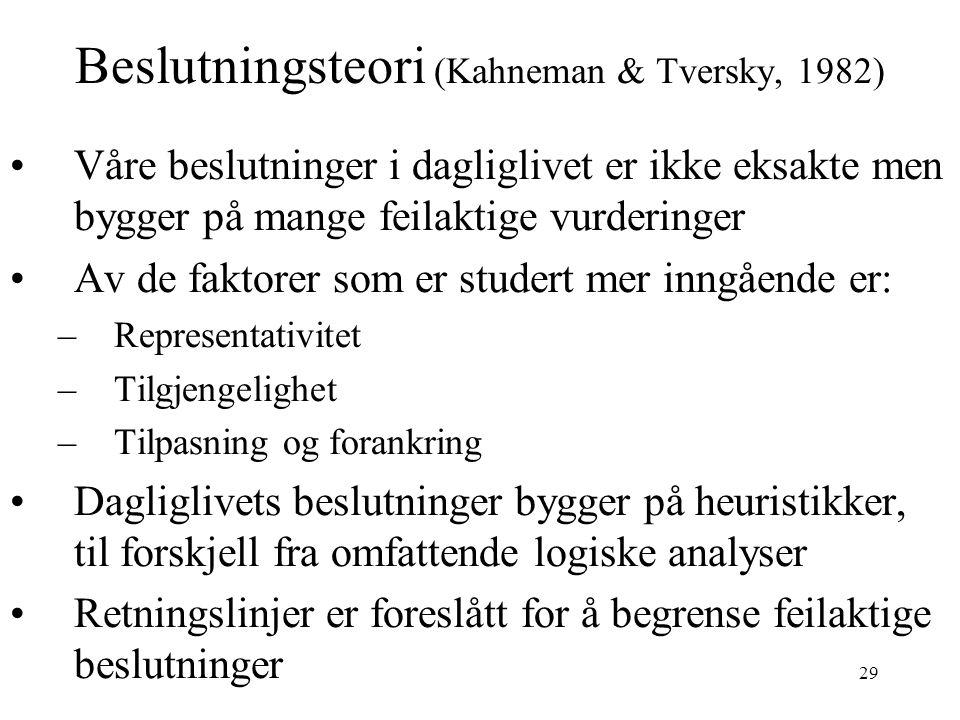 29 Beslutningsteori (Kahneman & Tversky, 1982) Våre beslutninger i dagliglivet er ikke eksakte men bygger på mange feilaktige vurderinger Av de faktor