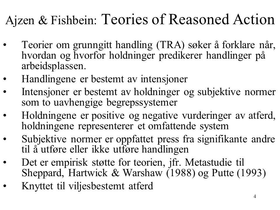 4 Ajzen & Fishbein: Teories of Reasoned Action Teorier om grunngitt handling (TRA) søker å forklare når, hvordan og hvorfor holdninger predikerer hand