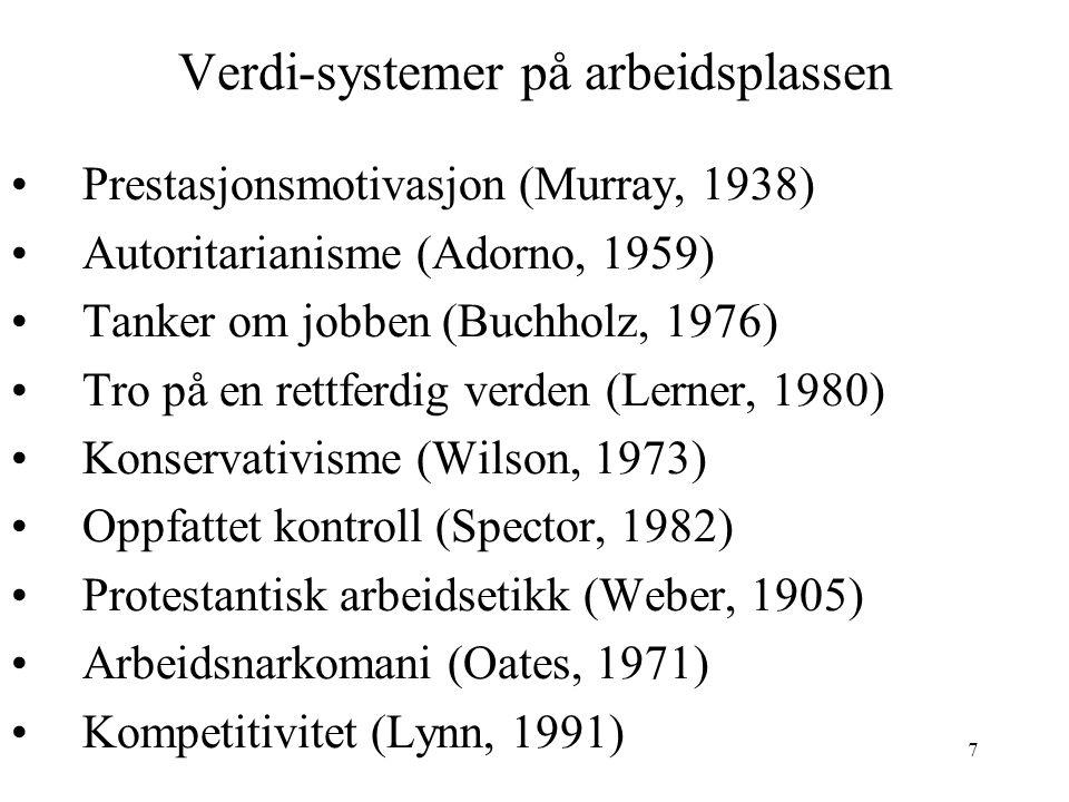 7 Verdi-systemer på arbeidsplassen Prestasjonsmotivasjon (Murray, 1938) Autoritarianisme (Adorno, 1959) Tanker om jobben (Buchholz, 1976) Tro på en re