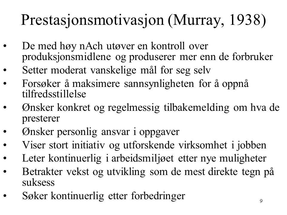 9 Prestasjonsmotivasjon (Murray, 1938) De med høy nAch utøver en kontroll over produksjonsmidlene og produserer mer enn de forbruker Setter moderat va