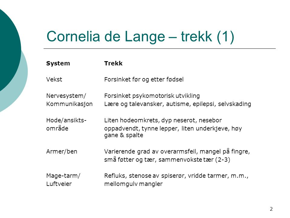 2 Cornelia de Lange – trekk (1) SystemTrekk VekstForsinket før og etter fødsel Nervesystem/Forsinket psykomotorisk utvikling KommunikasjonLære og tale