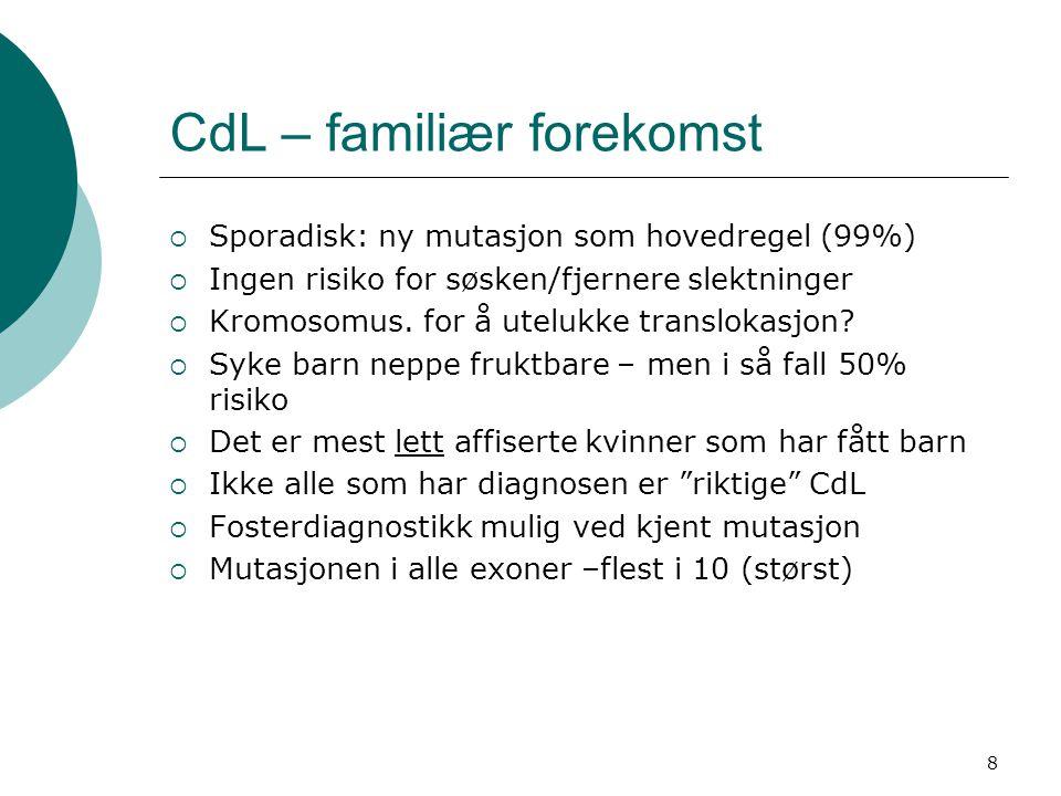 8 CdL – familiær forekomst  Sporadisk: ny mutasjon som hovedregel (99%)  Ingen risiko for søsken/fjernere slektninger  Kromosomus. for å utelukke t
