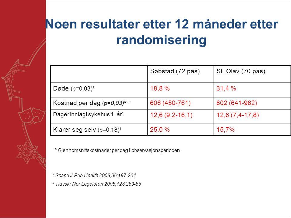 Noen resultater etter 12 måneder etter randomisering Søbstad (72 pas)St.