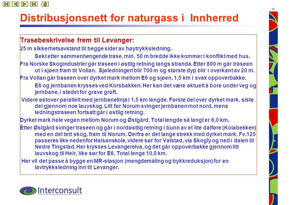 10 Distribusjonsnett for naturgass i Innherred Trasebeskrivelse frem til Levanger: 25 m sikkerhetsavstand til begge sider av høytrykksledning.