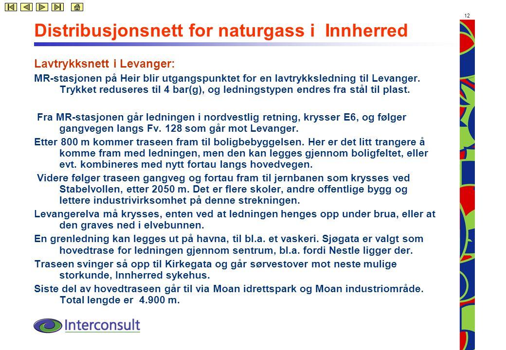 12 Distribusjonsnett for naturgass i Innherred Lavtrykksnett i Levanger: MR-stasjonen på Heir blir utgangspunktet for en lavtrykksledning til Levanger.