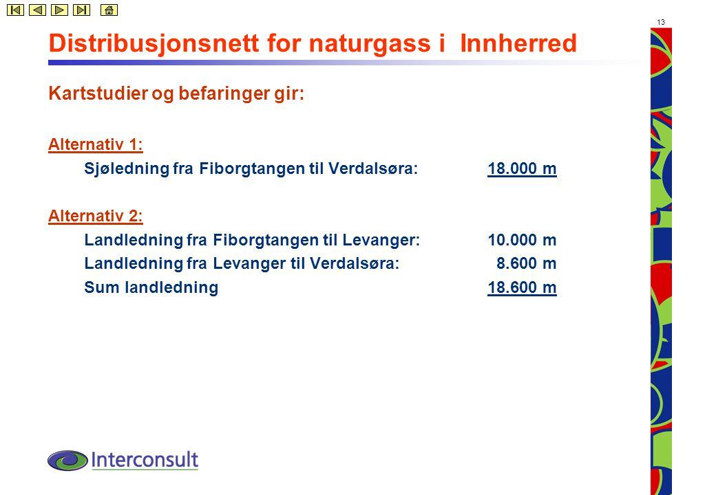 13 Distribusjonsnett for naturgass i Innherred Kartstudier og befaringer gir: Alternativ 1: Sjøledning fra Fiborgtangen til Verdalsøra: 18.000 m Alternativ 2: Landledning fra Fiborgtangen til Levanger: 10.000 m Landledning fra Levanger til Verdalsøra: 8.600 m Sum landledning18.600 m
