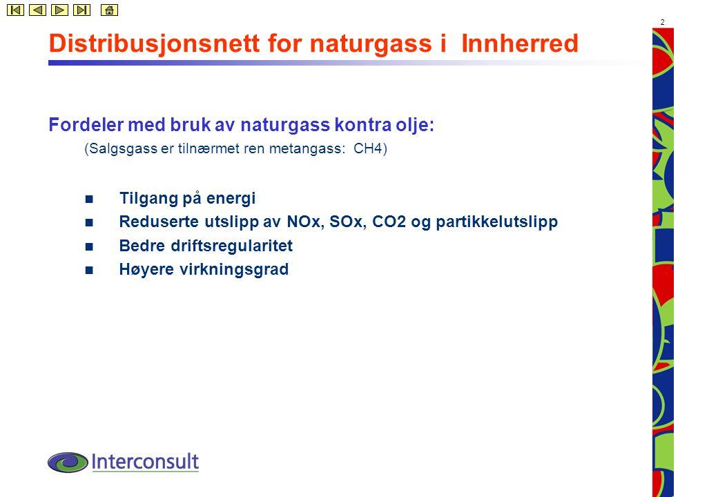 2 Distribusjonsnett for naturgass i Innherred Fordeler med bruk av naturgass kontra olje: (Salgsgass er tilnærmet ren metangass: CH4) Tilgang på energi Reduserte utslipp av NOx, SOx, CO2 og partikkelutslipp Bedre driftsregularitet Høyere virkningsgrad