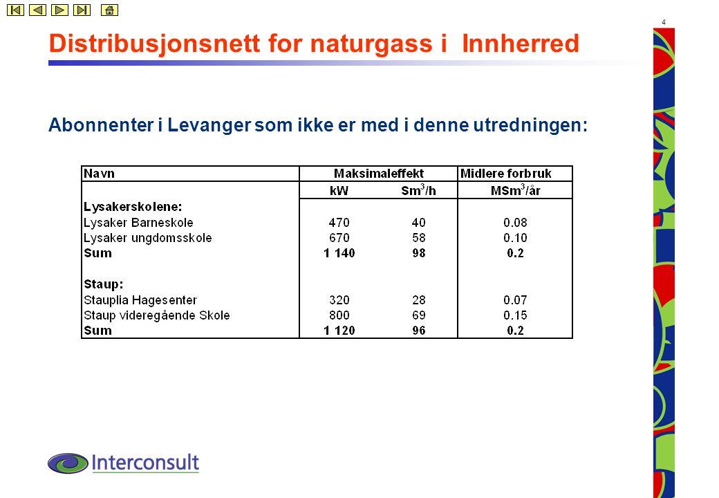 4 Distribusjonsnett for naturgass i Innherred Abonnenter i Levanger som ikke er med i denne utredningen: